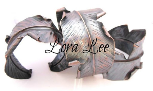 hand hammered copper leaves
